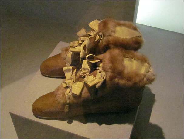 Empress Josephine's ribbon-laced fur bottines by LeRoy, Musée de Luxembourg/Chateau de Malmaison