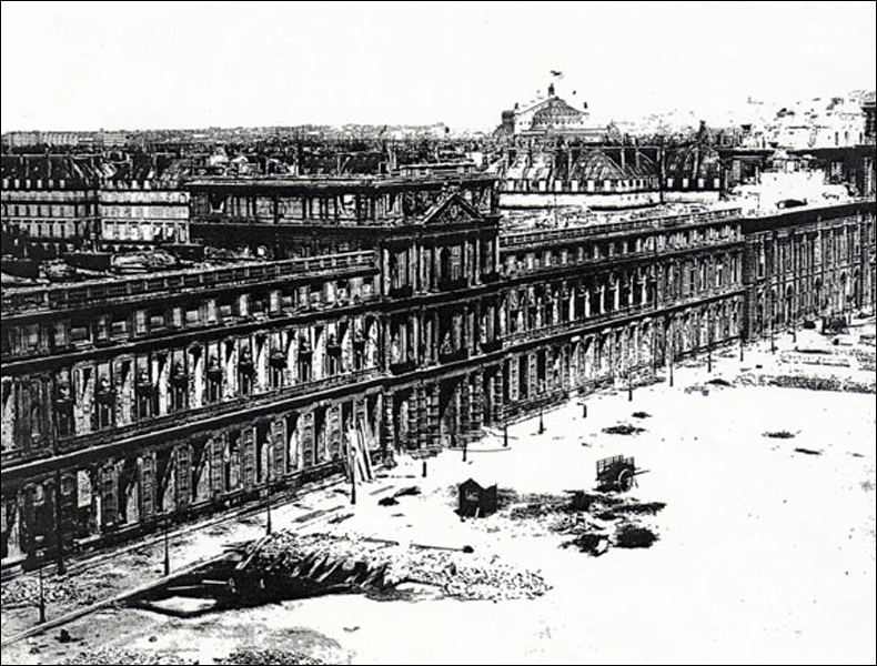 The Tuileries Palace after it was torched; unlike Paris city hall, it was not rebuilt