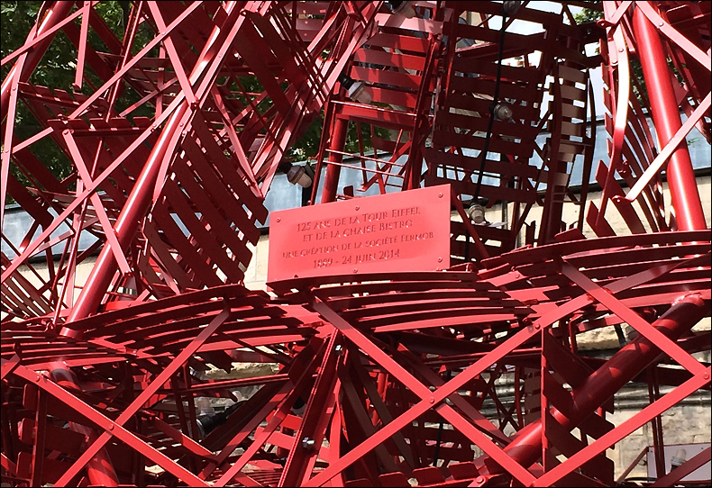 A plaque details the 324 chairs used in construction; pic: Cynthia Rose