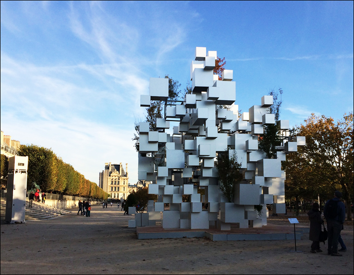 """Many Small Cubes"" by Sou Fukimoto, Louvre view; pic; Cynthia Rose"