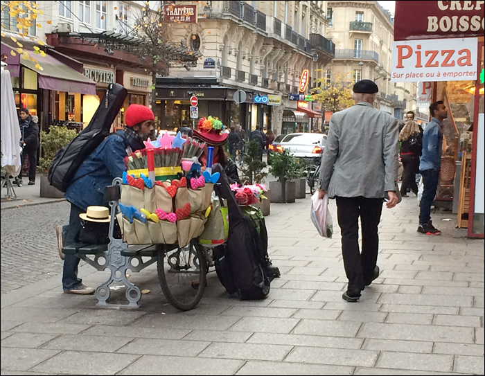 Street vendor in the Marais; pic: Cynthia Rose