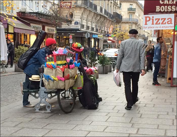 Street vendor in the Marais; pic: Cynthia Rose