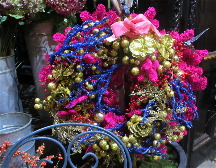 Flourescent flower wreath; pic: Steve Sampson