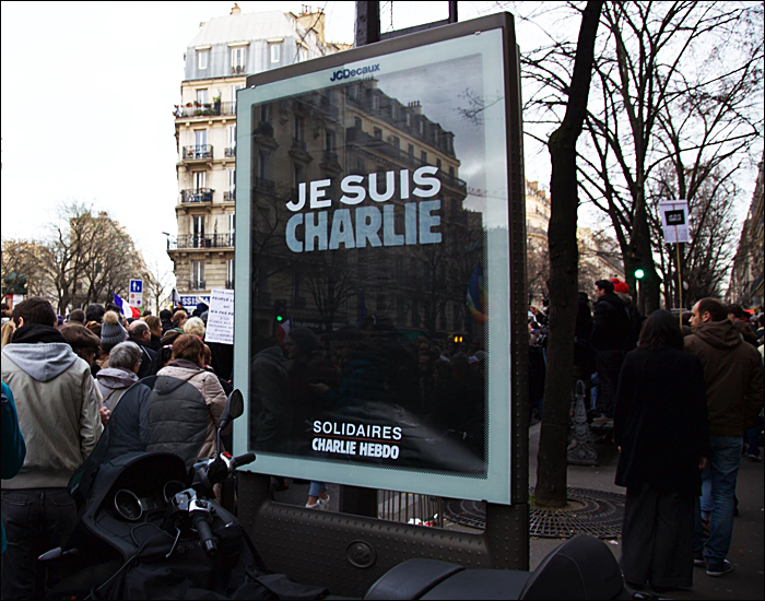 By the weekend, Paris PR billboard boxes (and kiosks) said this; pic: Steve Sampson