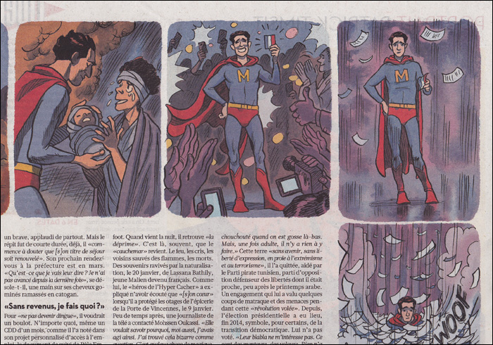 "Article on how an ""illegal resident"" saved his neighbours in a fire; iIlustrations Frédérik Peeters"